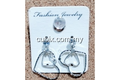 1 Pair Fashion Women Double Love Heart Link Drop Earrings